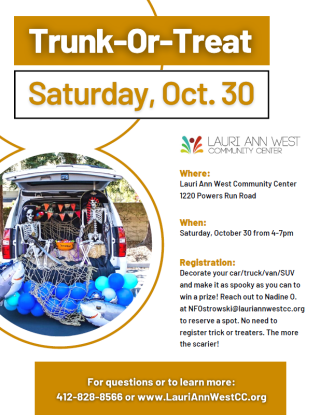 Laurie Ann West Community Center flier for Trunk or Treat